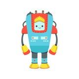 Illustration amicale géante bleue et rouge de bande dessinée de vecteur de caractère de robot d'Android Image libre de droits