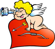 Illustration of an Amor Angel Boy looking for Stock Photography