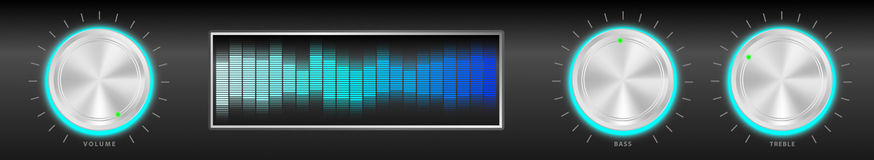 Illustration of Amplifier. Illustration of Black Amplifier With Silver Knobs and Blue Equalizer - Vector Royalty Free Stock Images