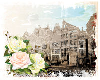 Illustration of Amsterdam street and roses. Stock Photo