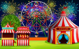 Amusement park scene with circus tent and firework. Illustration of Amusement park scene with circus tent and firework Stock Photography