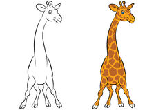 Illustration of an amusing animation giraffe for the coloring bo Stock Photo