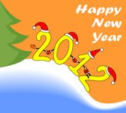 Illustration: amusing New Year's figures 2012. Amusing figures 2012 in New Year's red caps Royalty Free Stock Image