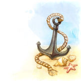 Illustration of anchor and shell Royalty Free Stock Photos