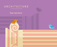 Illustration of ancient architecture, tall columns Stock Image
