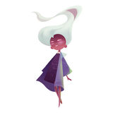 Illustration: The Ancient Fairy with Long Flowing White Hair. Stock Photos