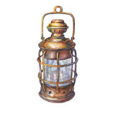 Illustration of ancient ship lantern. Hand drawn watercolor painting on white background Stock Photo