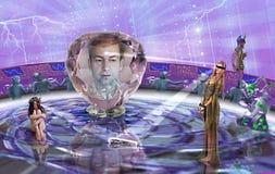 "Illustration for Andre Norton`s novel ""Three against the Wizarding World"". vector illustration"