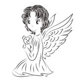 Illustration of angel's child with a toy in a doodle style. Sk Royalty Free Stock Images