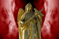 Angel with cross will protect you. Illustration of the Angel with the cross protecting one from the entering realm of the sins royalty free illustration