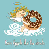 Illustration of Angel eating big donut Stock Photos