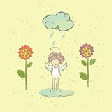 Illustration with an angel and flowers in the rain Stock Photo