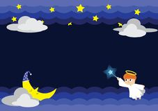 Illustration of Angel in the night with Stars&Moon stock photography
