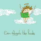 Illustration with Angel reading a book Royalty Free Stock Photo