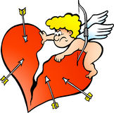 Illustration of an Angry Amor Angel Boy Royalty Free Stock Image