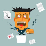 Illustration Angry boss  shouting and pointing to his employee. Illustration vector of Angry boss (senior businessman) standing at podium and screaming (scolding Stock Photos
