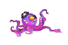 Illustration: The Angry Octopus Monster Pirate Captain. ! Isolated on White Background. Realistic Fantastic Cartoon Style Character / Holiday Card Design Stock Photo