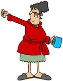 Angry woman shaking a fist. Illustration of an angry old woman in a robe holding a coffee mug and shaking her fist vector illustration