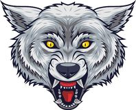 Angry wolf head mascot with open mouth stock illustration