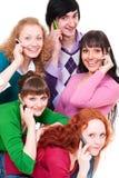 Illustration animée des personnes heureuses avec des portables Image stock