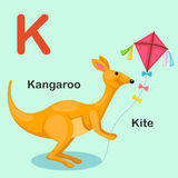 Illustration  Animal Alphabet Letter K-Kite,Kangaroo Royalty Free Stock Image