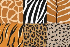 Illustration of animal skin textures, background patterns. Vector Illustration of tiger, zebra, giraffe, cheetah, nyala  and leopard pattern. Animal print Royalty Free Stock Photos