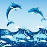 Illustration animale de vecteur de dauphins de nature d'océan de bleu de mer de faune mammifère marine aquatique mignonne d'eau illustration de vecteur