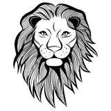 Illustration animale de vecteur principal de lion pour le T-shirt. Photo stock