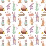 Illustration animale heureuse mignonne de modèle de lapin de caractère de lapin de Pâques de vecteur sans couture de fond Photos stock