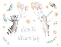 Illustration animale sautante mignonne de raton laveur et de lapin pour le lapin patry d'anniversaire de bande dessinée de forêt  illustration stock