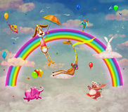 Illustration of animals on background of rainbow Stock Photo