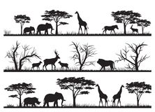 Animals forest silhouette at savanah. Illustration of animals forest silhouette at savanah Stock Illustration