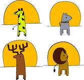 Illustration of animals in front of the setting sun  Stock Images