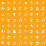 Illustration animals paws print on a yelow backgro Royalty Free Stock Images