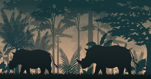 Animals silhouette at the inside forest. Illustration of animals silhouette at the inside forest vector illustration