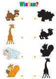 Illustration of animation silhouettes of animals for the childre. N's book of riddles Stock Photo