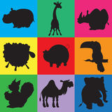 Illustration of animation silhouettes of animals. For the children's book of riddles Stock Photography
