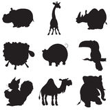 Illustration of animation silhouettes of animals. For the children's book of riddles Royalty Free Stock Photography