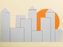 Illustration Annimated-Skyline gegen eine untergehende Sonne lizenzfreie stockbilder