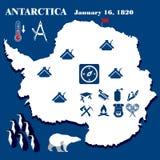 Illustration, Antarctica , flat design, hike elements stock illustration