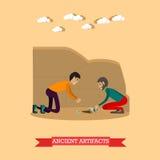 Illustration antique de vecteur de concept d'objets façonnés dans le style plat Images stock