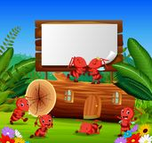 Ants and beautiful wooden house with a wooden sign stock illustration