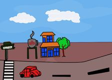 Roadside coffeehouse illustration - picture background Royalty Free Stock Image