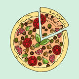 Illustration. Appetizing pizza. Happy Birthday. Stock Photos