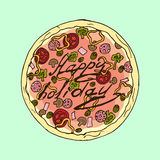 Illustration. Appetizing pizza. Happy holiday. Royalty Free Stock Photography
