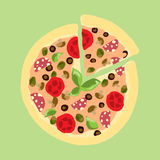 Illustration. Appetizing pizza vintage drawing . Stock Photo
