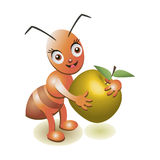 Illustration of an apple and an ant on a white background. Vector illustration with ant insect Royalty Free Stock Images