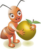 Illustration of an apple and an ant on a white background. Vector illustration with ant insect Stock Image