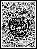 Illustration Of Apple And Hand Drawn Lettering. Stock Images