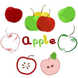 Illustration of apple set. Logo, icon, label Stock Photos